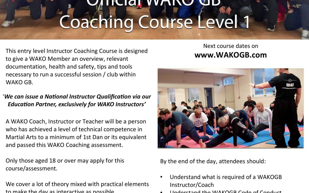 Coaching Course:  Date Confirmed **SPECIAL OFFER**